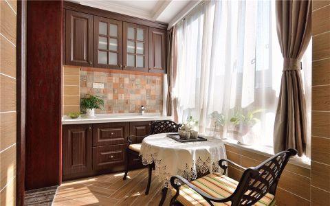 阳台咖啡色窗帘简欧风格装修设计图片
