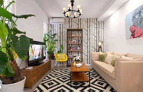 客厅白色吊顶混搭风格装潢设计图片