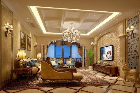 客厅咖啡色电视柜简欧风格装修设计图片