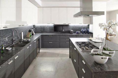 厨房白色地砖现代风格装潢图片
