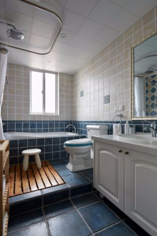 卫生间白色背景墙现代风格效果图