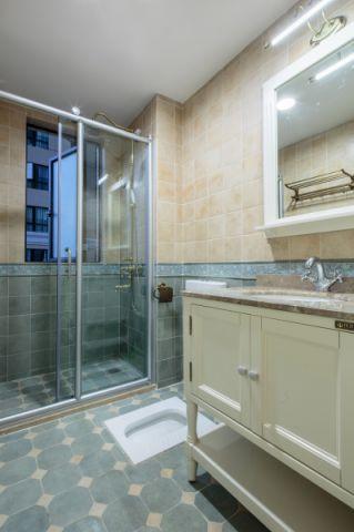 卫生间黄色背景墙美式风格装潢设计图片