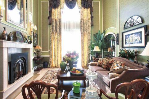 客厅黄色窗帘地中海风格效果图