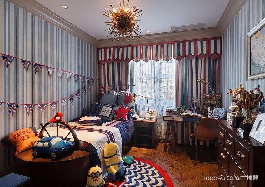 儿童房彩色窗帘美式风格装修设计图片