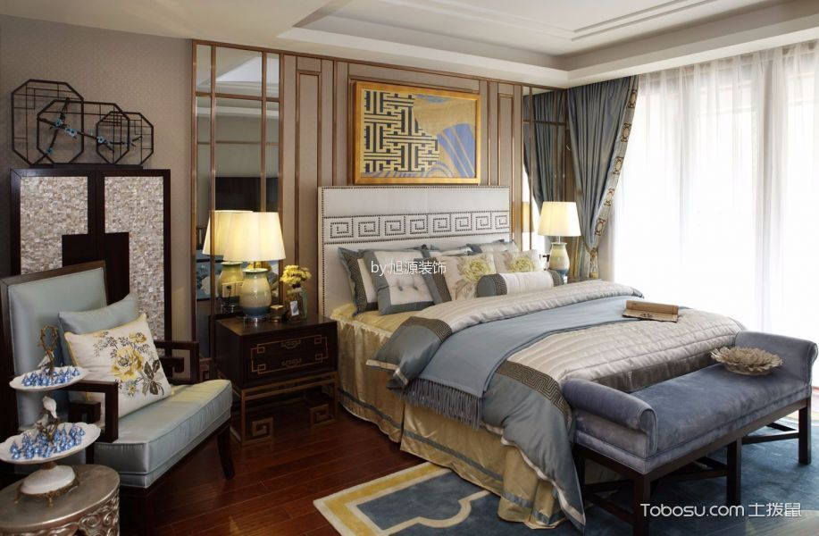 卧室 床_混搭风格100平米三室两厅室内装修效果图