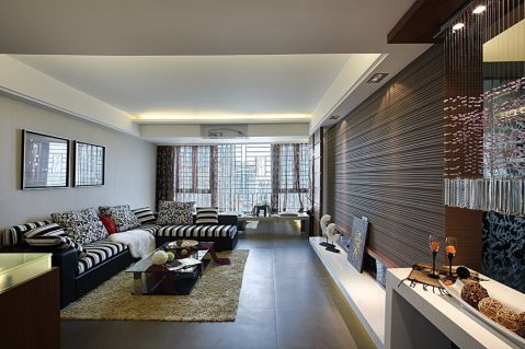 现代简约风格115平米三室两厅室内装修效果图