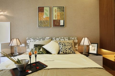 卧室背景墙现代简约风格装潢设计图片