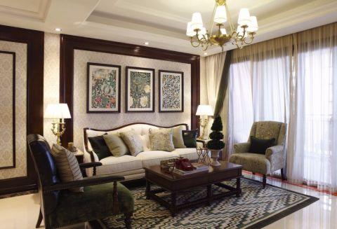 客厅黄色窗帘欧式风格装饰图片