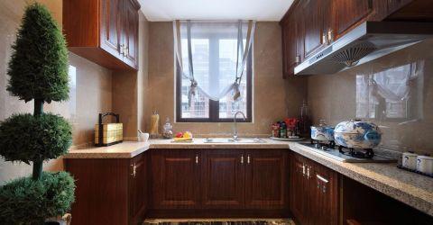 厨房咖啡色橱柜欧式风格装修效果图
