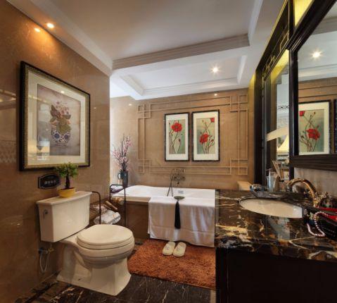 卫生间咖啡色背景墙欧式风格装饰效果图
