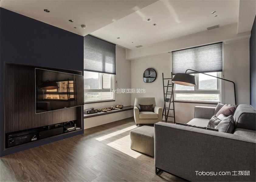 客厅咖啡色地板砖简约风格装潢效果图