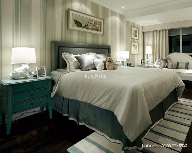 卧室绿色床后现代风格装饰图片