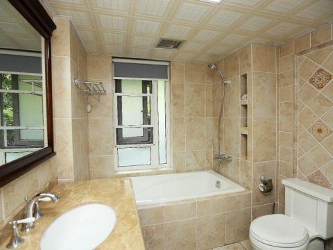 浴室浴缸田园风格装潢图片