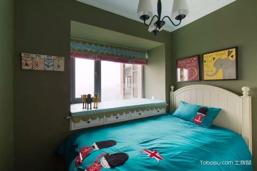 卧室绿色飘窗美式风格装修图片