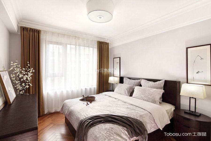 卧室咖啡色窗帘新中式风格装饰图片