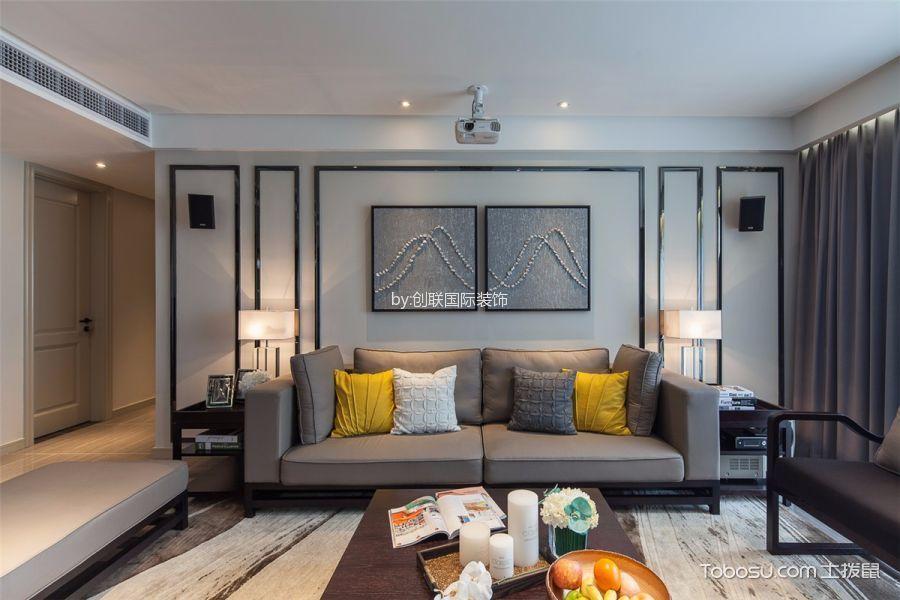 现代简约风格110平米三室两厅室内装修效果图