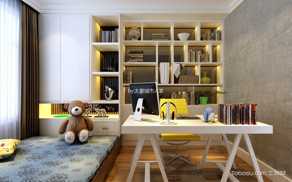 卧室白色书架现代简约风格装修图片