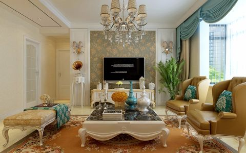 简欧风格124平米三室两厅室内装修效果图