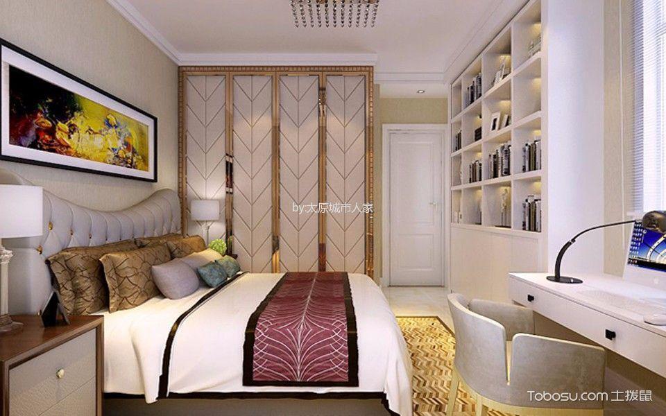 卧室白色书架现代简约风格装修效果图