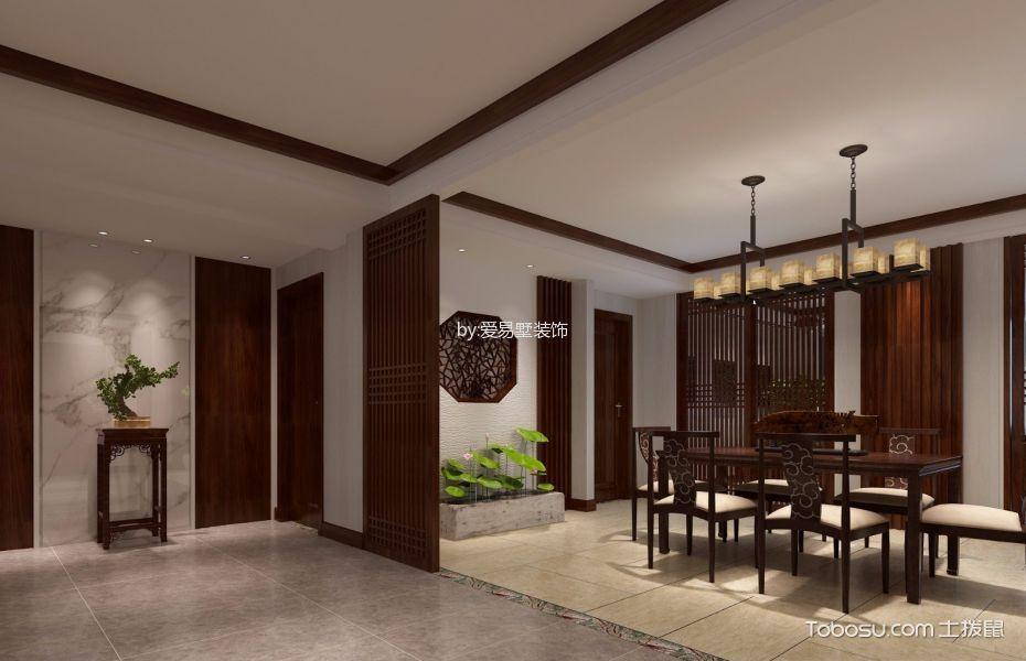 餐厅咖啡色隔断新中式风格装潢效果图