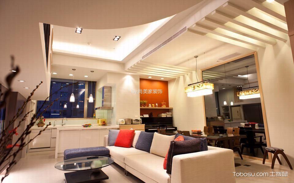 客厅白色沙发现代风格装潢图片