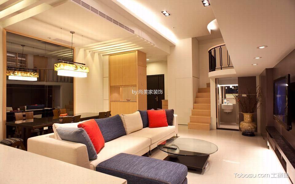 客厅米色楼梯现代风格装饰设计图片