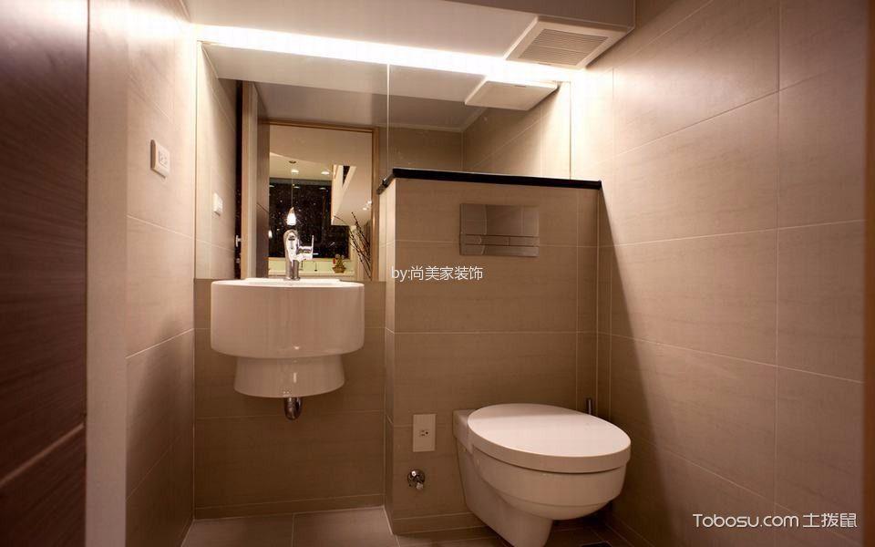 卫生间米色背景墙现代风格装修效果图