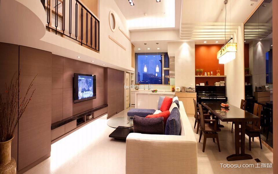 客厅咖啡色电视柜现代风格装潢效果图