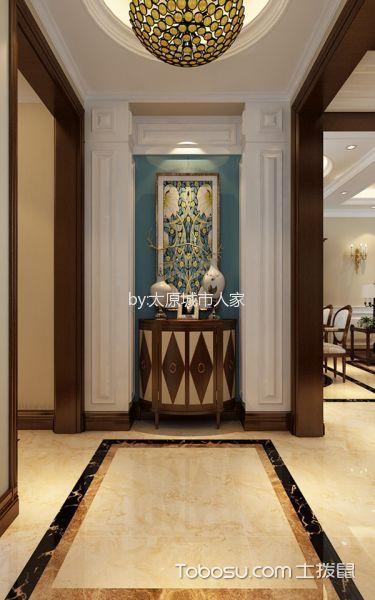 玄关蓝色背景墙美式风格装饰效果图