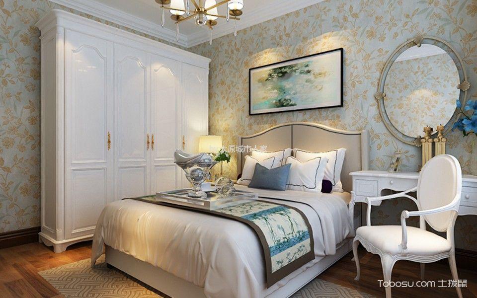 卧室白色梳妆台美式风格装饰图片
