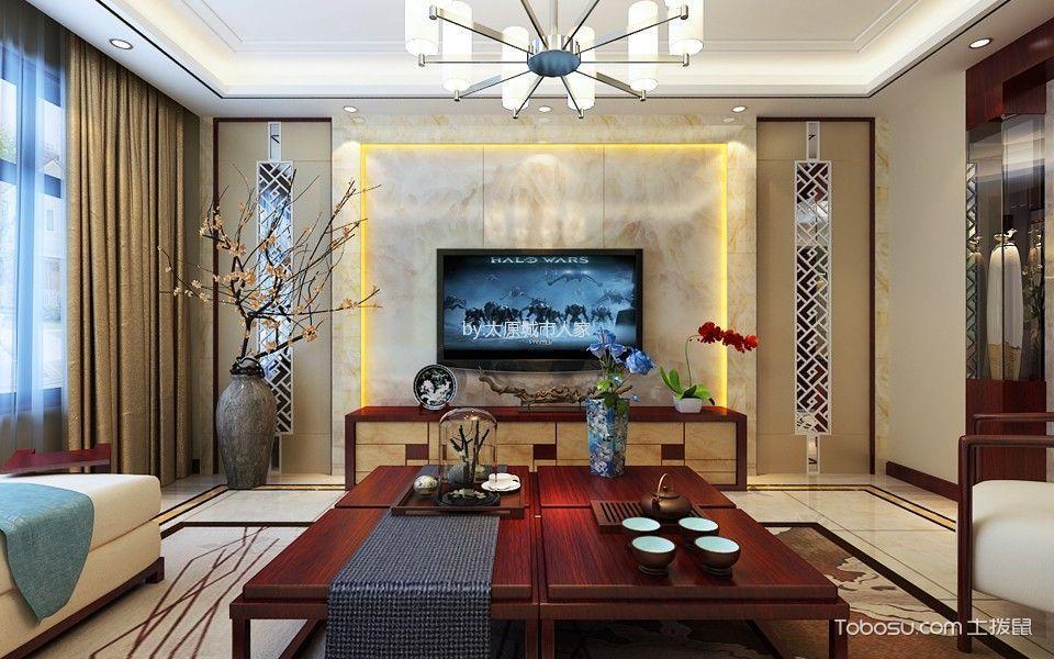 客厅黄色窗帘新中式风格装潢设计图片
