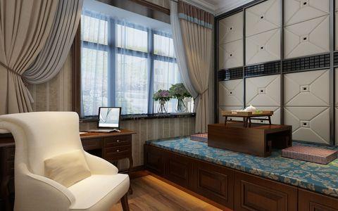 书房窗帘美式风格装修图片