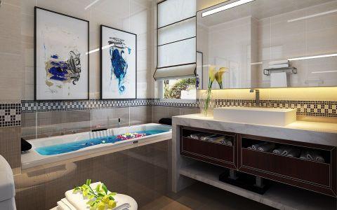 卫生间背景墙新中式风格效果图