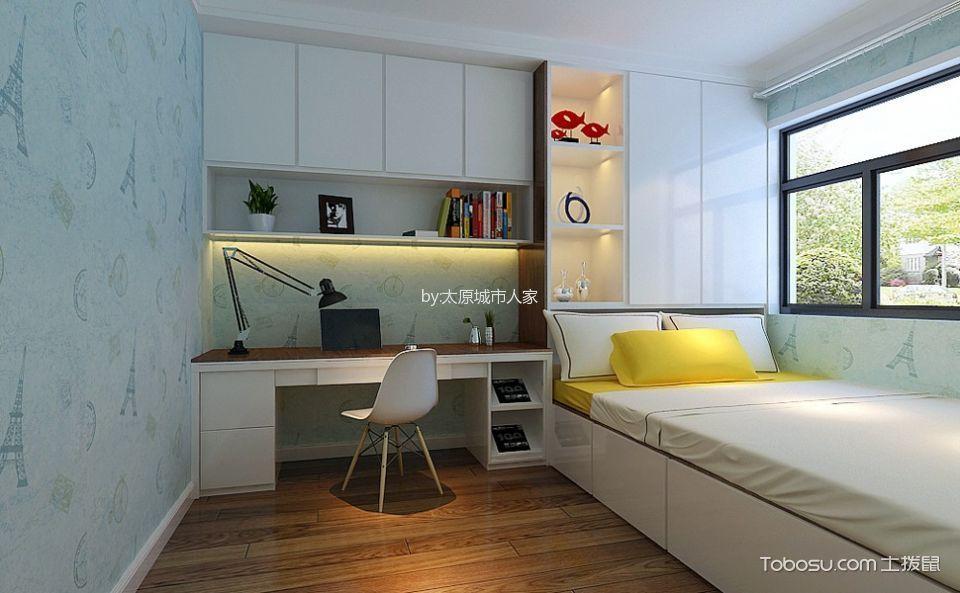 卧室白色榻榻米现代简约风格装潢效果图