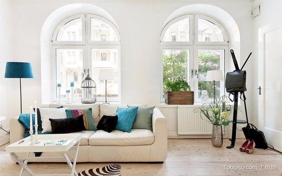 客厅白色窗台北欧风格装修效果图