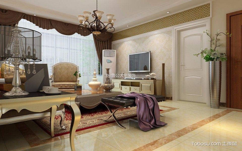 客厅黄色地砖简欧风格装潢设计图片