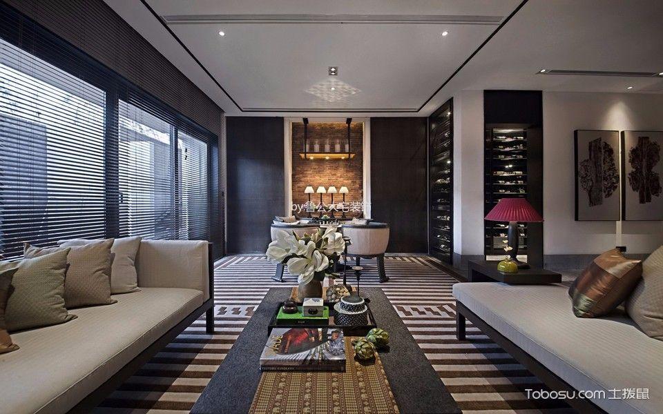客厅黑色窗帘新中式风格装修设计图片