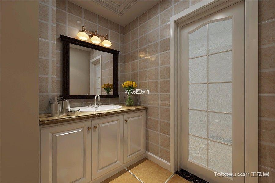 卫生间米色背景墙简欧风格装潢图片