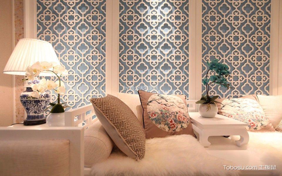 客厅白色细节新中式风格效果图