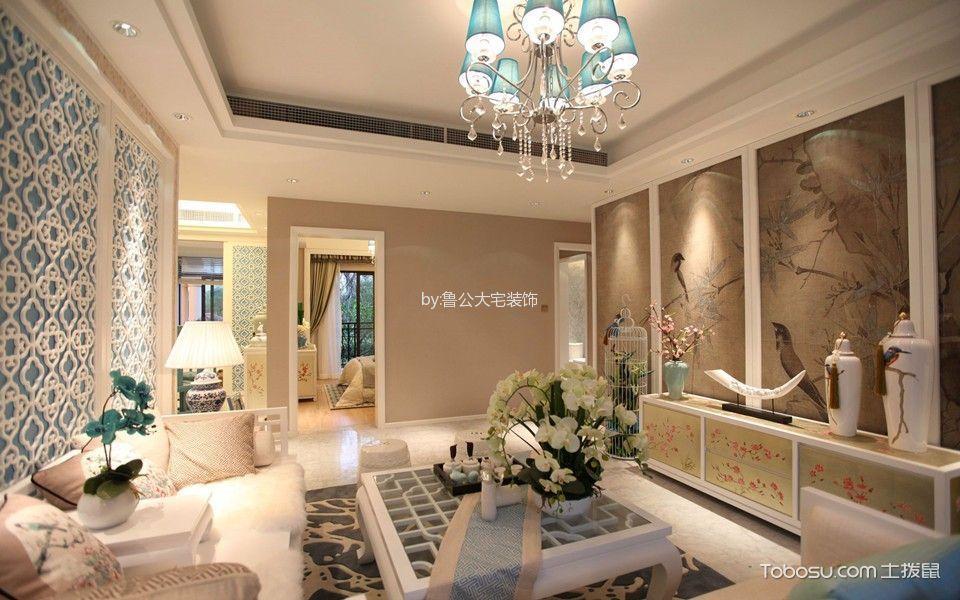 客厅米色走廊新中式风格装修图片