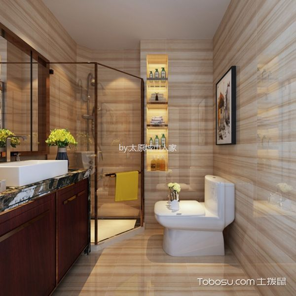 卫生间白色隔断新中式风格装饰图片