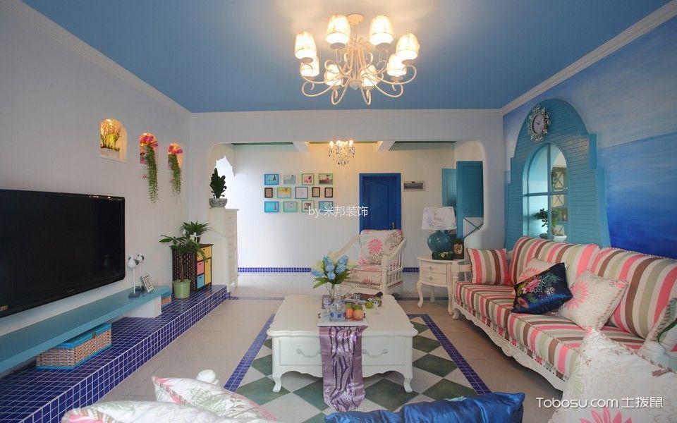 客厅 吊顶_5.55万预算100平米两室两厅装修效果图