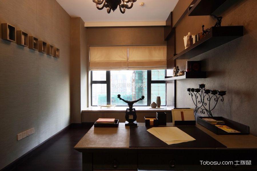 书房黄色窗帘现代简约风格装修图片