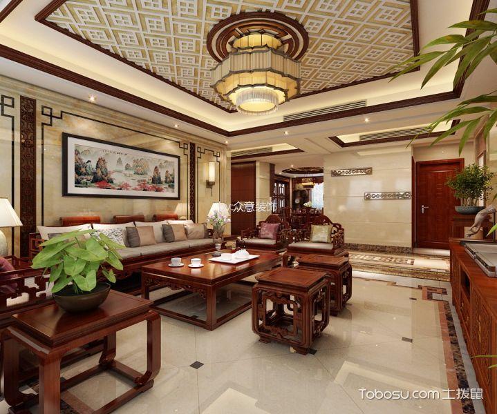 客厅 吊顶_30万预算218平米四室两厅装修效果图
