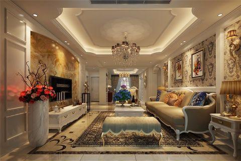 客厅背景墙简欧风格装潢设计图片