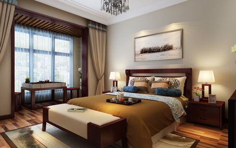 卧室背景墙新中式风格效果图