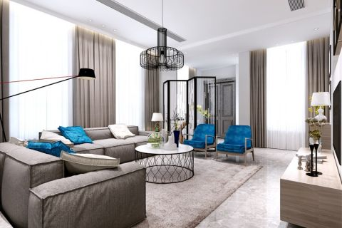 客厅窗帘北欧风格效果图