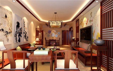 中铁品园中式三居室效果图