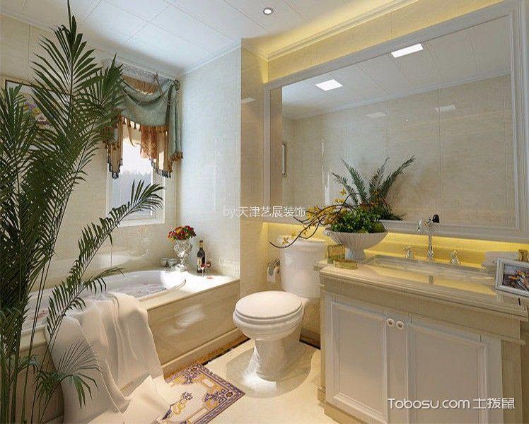 卫生间米色背景墙简欧风格装修图片