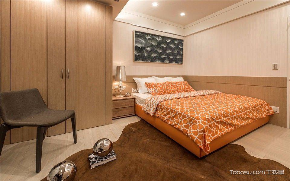 卧室橙色床法式风格效果图